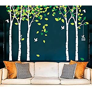 Amaonm 104″x71″ Giant Large Jungle 5 Trees Wall Decals Green Leaves and Fly Birds Wallpaper Wall Decor DIY Vinyl Wall Stickers for Kids Bedroom Living Room Nursery Rooms Offices Walls (White Tree)