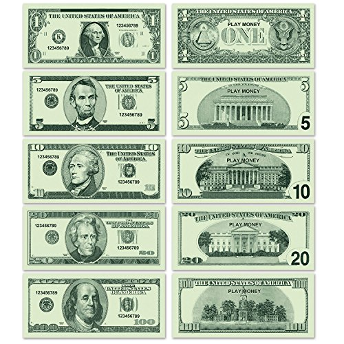 Beistle 200 Piece Large Paper Fake Money Cut Outs Casino Theme Decorations Western Party Photo Booth Propss, 9' x 4', Green/Light Green