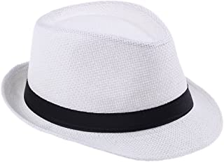 Elee Unisex Kids Straw Trilby Fedora Cap Jazz Hat Short Brim Sunat