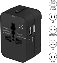 Travel Adapter, Xcords Worldwide All in One Universal Travel Plug Adapter AC Power Plug Converter High Speed Wall Charger with 2 USB Charging Ports Sync for USA EU UK AUS (Black) (Black)
