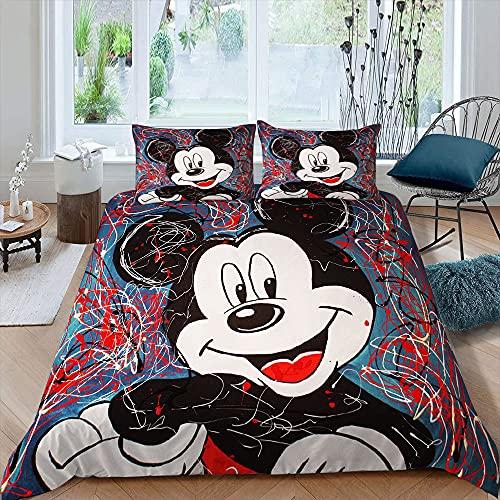 Juego de cama para niños 3D dibujos animados Mic-key M-inne funda de edredón 3 piezas de dibujos animados 1 funda de edredón con 2 fundas de almohada tamaño doble