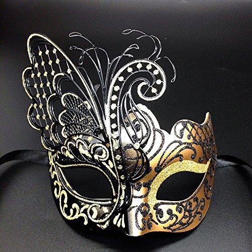 CCUFO [Flying Butterfly] Gold / Schwarzes Gesicht mit [Sparkling Wing] Laser Cut Metall venezianischen Frauen-Maske für Maskerade / Party / Ball Prom / Mardi Gras / Hochzeit / Wanddekoration