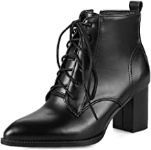 MIOKE Women's Pointed Toe Lace Up Ankle Boots Chunky Block Heel Western Chelsea Booties Dressy Short Boots