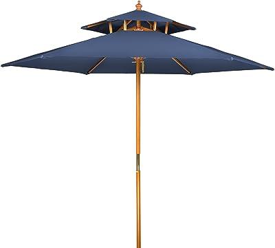 Trademark Innovations UMBPAG8-BU 8' Wood 2 Tier Pagoda Style Patio Umbrella(Blue)