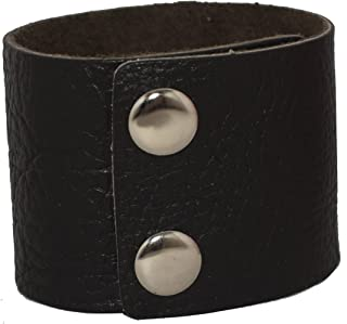 AZYOUNG Men's Black Brown White 5cm Wide Leather Bracelet Two Rows of Buckles Wristband Cuff Bangle,Length:23cm
