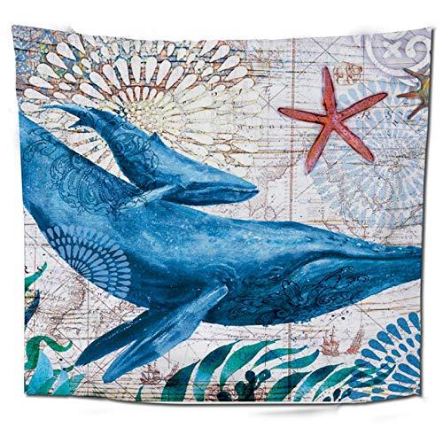 WERT Vida Marina Azul Tapiz Colgante de Pared Alfombra Dormitorio Artista de Tapiz decoración del hogar Manta Tiro Yoga Estera de Playa A9 200x150cm