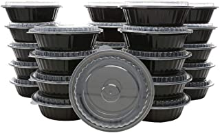 Hotpack Disposable Food Container with Lid 25 Pieces, Black BB8377