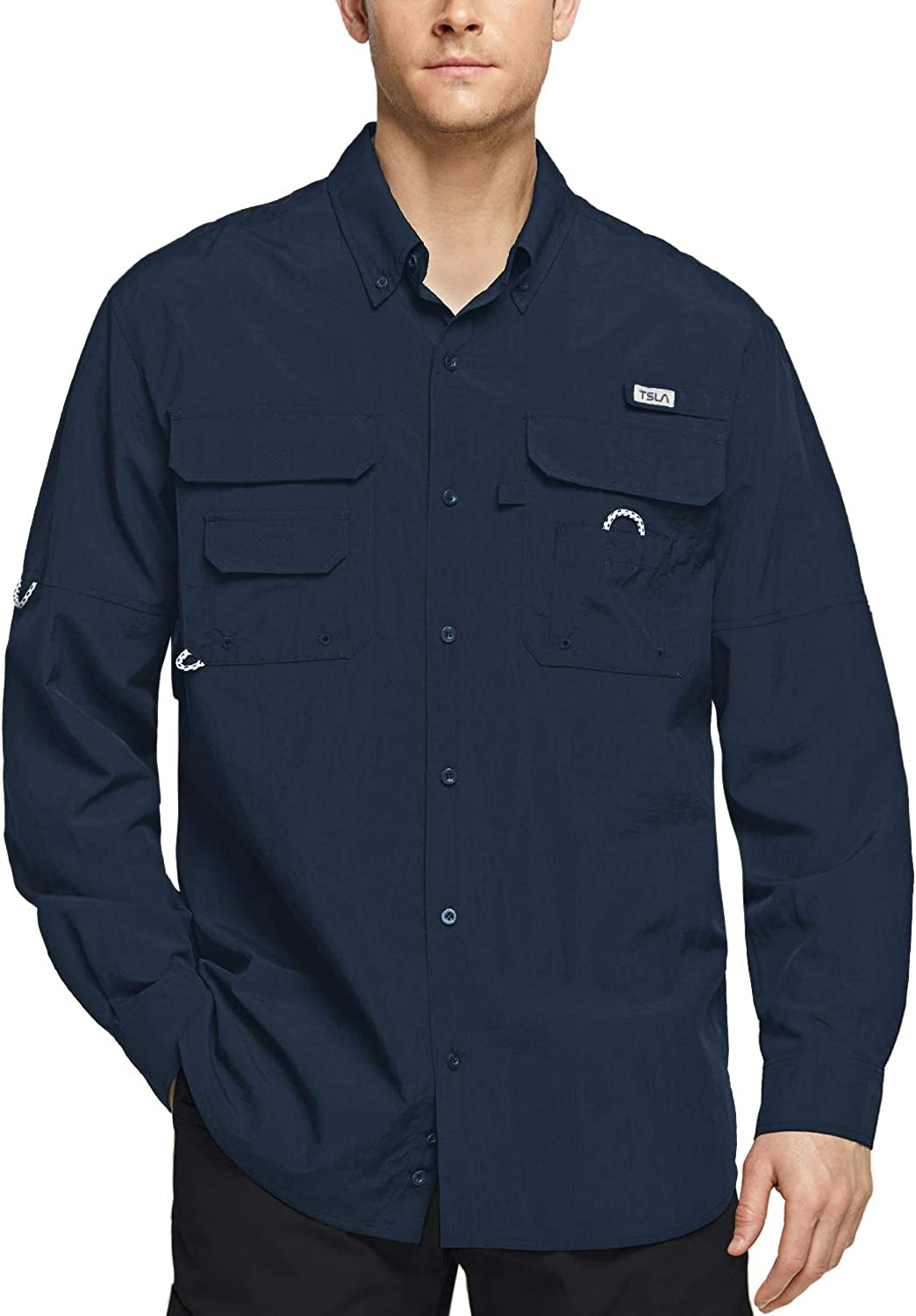 TSLA Men's Performance Fishing Shirt UPF Button Breathable 50+ Max 50% Opening large release sale OFF