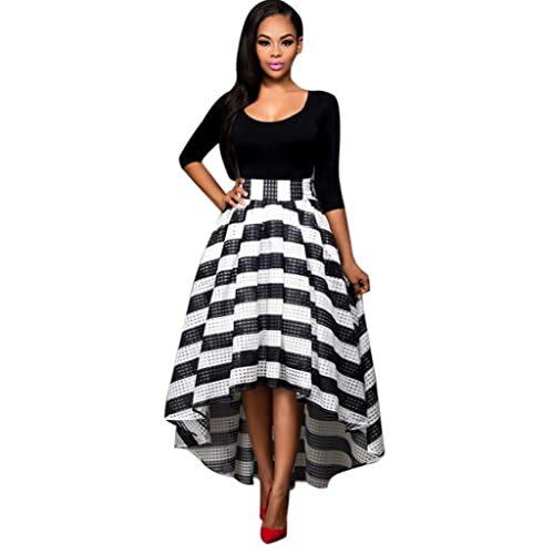 8b5b7e27b9f Women s Stripe Top Plus Size Midi Party Cocktail Dresses Party Ball Gown  Evening