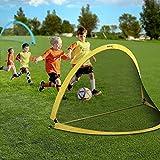 INTEY Portería de fútbol de 2 piezas Jaula de fútbol infantil Pop UP Portería de fútbol Portería de fútbol plegable con estuche, para jardín, playa, juegos al aire libre (122x76x76cm)Azul & elamarillo