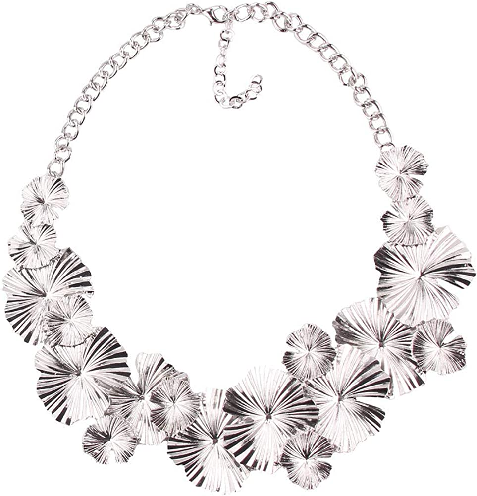 YAZILIND Alloy Leaf String Collar Necklace Exaggerated Women Birthday Party Jewelry