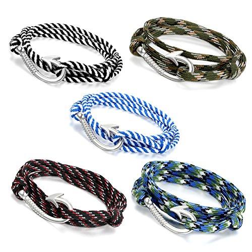 Oidea - 5 pulseras para mujer y hombre, multicapa, nailon, cordón de aleación, anzuelo, gancho para cadena, color camuflaje