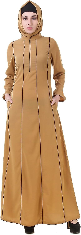 MyBatua Abaya with Hijab Jilbab Islamic Clothing Maxi Dress Muslim Beige Burqa AY621
