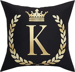 BLEUM CADE Black Pillow Cover Throw Pillow Case English Alphabet K Throw Pillow Case Modern Cushion Cover Square Pillowcase Decoration for Sofa Bed Chair Car