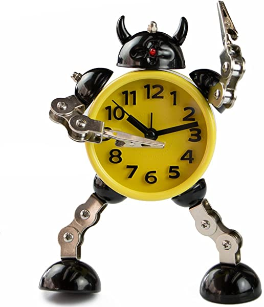 PiLife Silent Non Ticking Metal Robot Alarm Clock Flashing Lights Free To Make Poses With Card Or Note Holder Small Yellow