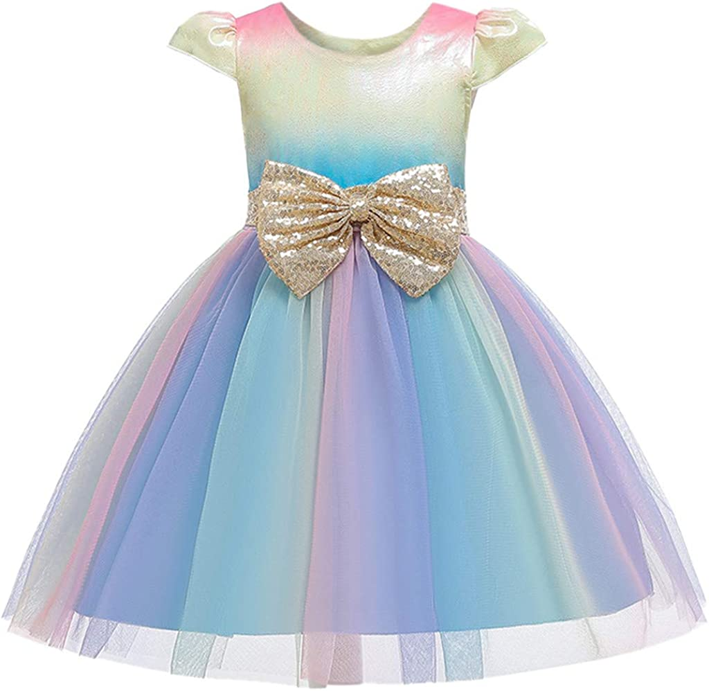 Girls Tutu Rainbow Dress - Girls Sequin Bridesmaid Pageant Gown Birthday Party Wedding Dress for Special Occasion Dance