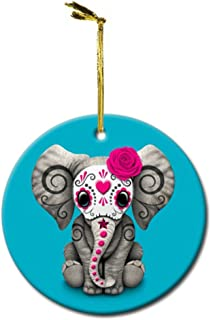 SupremeMar Pink Day of The Dead Sugar Skull Baby Elephant Custom DIY Personalized Christmas Ornament Round Porcelain Print One Side Collection