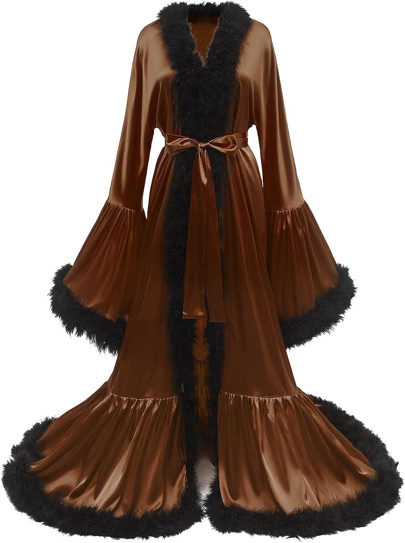 Yexinbridal Feather Robe Silk Satin Bridal Dressing Gown Fur Trim Luxury Lingerie Old Hollywood Nightgown