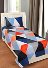 Roseate Comfort Collection 144 TC Glace Cotton Single Bedsheet with 1 Pillow Cover, Multi Colour (Triangle Check)