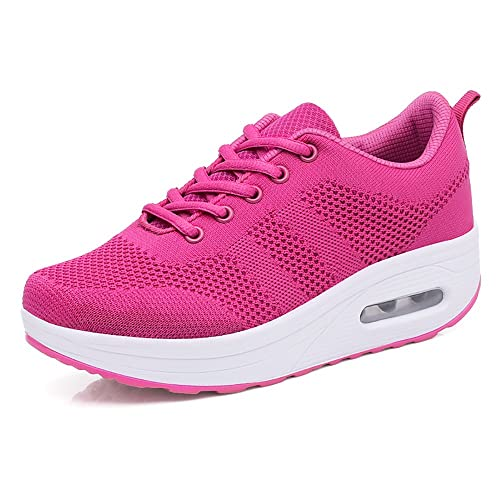 0692201980ba1f Women's Trainers Platform Sneakers Jogging Mesh Air Cushion Ladies Sport  Shoes Wedges Lace-up Fitness