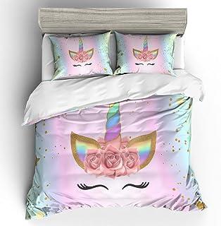 Fairylike Girls Unicorn Duvet Cover Set Pink Bedding Duvet Cover Set Twin Girls Printed Modern Lightweight Kids Bedding Set for Teens (NO Comforter Included)