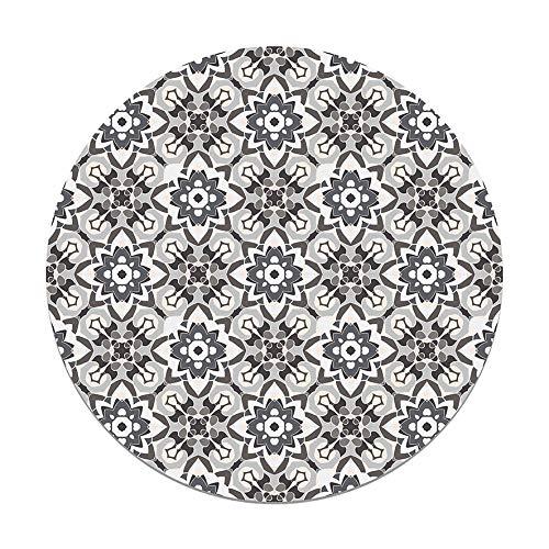 Panorama Alfombra Vinílica Redonda Azulejo Oriental Floreada Gris 100x100 cm - Alfombra Cocina Vinilo - Alfombra Salón Antideslizante e Ignífuga - Alfombras Grandes - Alfombras PVC