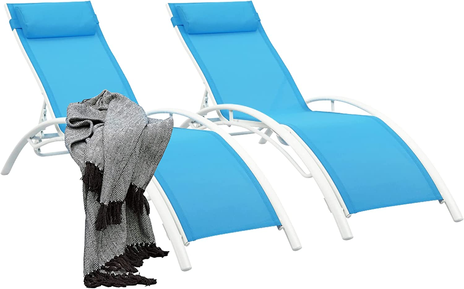 Outdoor Lounge Chairs Patio Chairs Set of 2 Outdoor ChairAdjustable Chaise Lounge 5-Level Pool Chairs with Headrest for Beach, Pool (Blue)