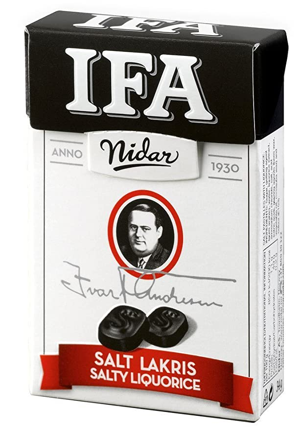 4 Boxes x 34g of Nidar IFA - Original - Norwegian - Salty Licorice - Salmiak - Salmiac - Pastilles - Lozenges - Dragees - Drops - Candies - Sweets