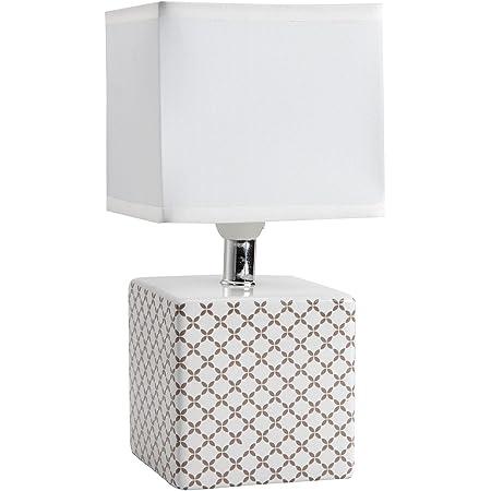 Lampe de chevet Caroline, lampe décorative céramique, 40 W, beige, L 11 x H 22 cm