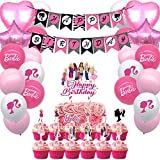 Party Favors for Barbie Party Supplies Cake Toppers Balloons Banners Cake Toppers Decorations Girls Theme Birthday Party