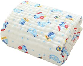 DANGTOP Blanket with Cartoon Pattern for Baby or Toddler-Six Layers of 100% Certified Organic Cotton(Train,41x41)