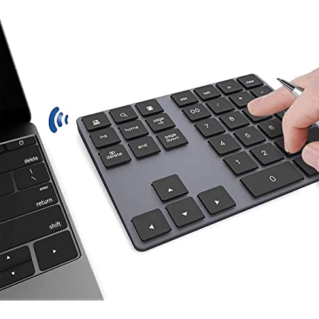 Teclado numérico Bluetooth, Bluetooth inalámbrico portátil 34 Teclas con múltiples accesos directos compatibles para computadora portátil Windows ...