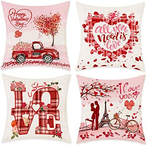 Bonsai Tree Valentine Pillow Covers 18x18 Happy Valentines Day Couch Throw Pillow Covers Vintage product image