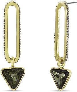 Steve Madden Black Rhinestone Triangle Link Dangle Drop Earrings for Women