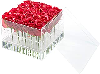 Flower Box Water Holder, Acrylic Rose Pots Stand - Decorative Square Vase with Removable 2 Tiers - Valentine's Day, Mother's Day, Birthday Gift, 25 Holes