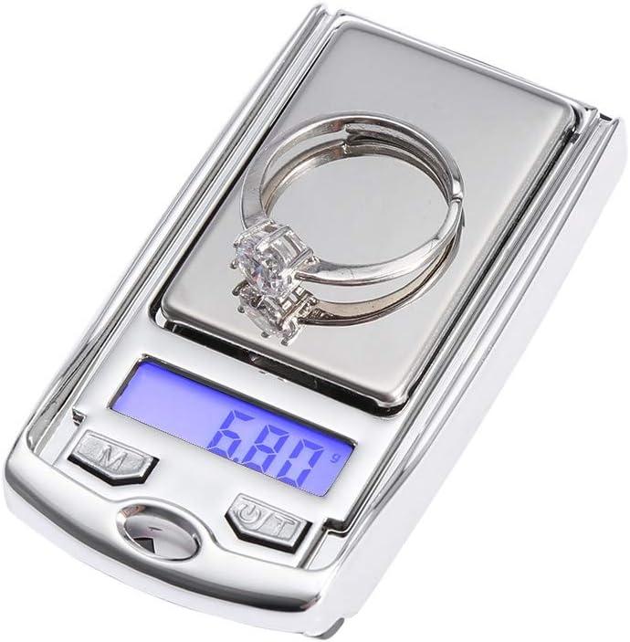Joyería de bolsillo digital, balanza de joyería bandeja portátil de bolsillo de alta precisión Peso electrónico digital báscula con visualización digital para oro, plata, piedra preciosa