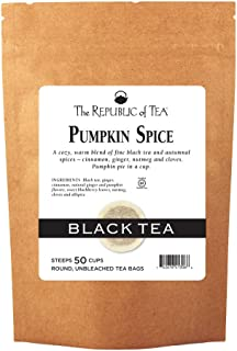The Republic of Tea Pumpkin Spice Black Tea, 50 Tea Bags, Autumnal Spice Blend