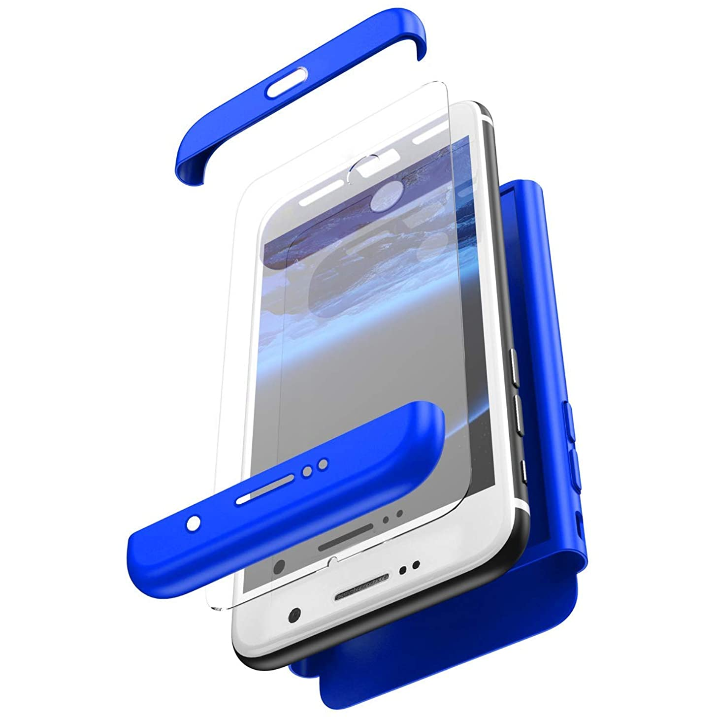 Herbests Compatible with Huawei Mate 10 Case Thin Fit Shockproof 360°Full Body Front Back Hard Case Cover + Tempered Glass Screen Protector All-Around Protective Cover,Blue