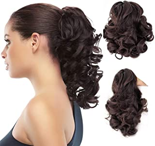 Synthetic Clip In Claw Ponytail Curly Hair Extension Synthetic Hairpiece 90g with a jaw/claw clip
