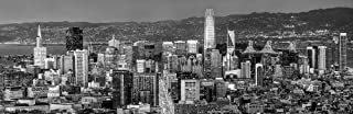 San Francisco Skyline 2018 PHOTO PRINT UNFRAMED Dusk BW Black & White City Downtown SF 11.75 inches x 36 inches Photographic Panorama Poster Picture Standard Size
