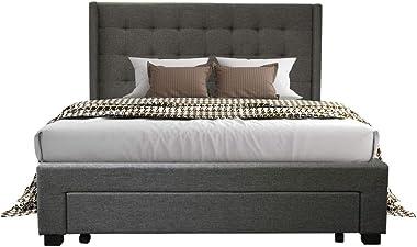 PU Upholstered Fabric Wooden Bed Frame Queen Storage Drawer Dark Grey