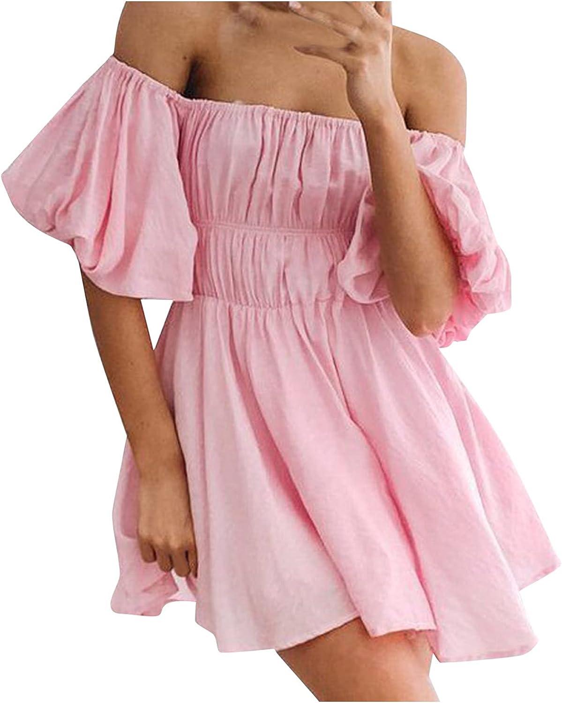 JPGIF Women's Plus Size Maxi Dresses Round Neck Tube Top Solid Color Trumpet Sleeve Folds Casual Short Dresses