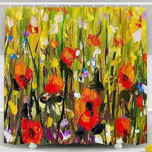 DINGQING Red Poppies Flower Field Original Handmade Abstract Oil Painting Bright Flowers Made Palette Knife Waterproof Bathroom Set 183X183Cm