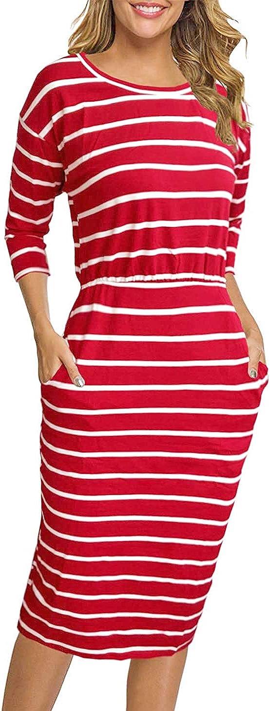 HenzWorld Vestido Informal para Mujer Manga Larga Cuello Redondo Delgado con Volantes Modestos Vestidos Midi de Trabajo