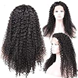 SMYUI Lace Front Wigs For Black Women,100% Human Hair wigs Brazilian Natural Black Jerry Curly Long Hair 150% Density-24 Inches