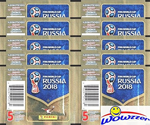 2018 Panini FIFA World Cup Russia Collection with 10 Factory Sealed Sticker Packs with 50 Stickers! Look for Top Superstars including Lionel Messi, Cristiano Ronaldo, Neymar Jr. & Many More! WOWZZER!