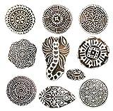 Hashcart Sellos de madera para impresión, estampado y tallado a mano con baren; Diseños de impresión ideales para impresiones artesanales, impresiones de tela, bloc de notas - Set de 10