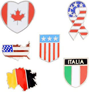 Shinmond 6styles Canada Germany USA Flags Enamel pin Stars and Stripes brooches Gift Badge Button Lapel Jewelry Clothes Je...