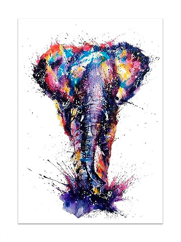 SuperDecor 5d Diamond Painting Full Drill by Number Kits Crystal Rhinestone Diamond Embroidery Paintings for Adults and Kids, Colorful Elephant 12x16 in