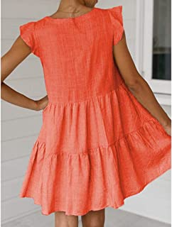 Lialbert Boho Leinenkleid Vintage Skaterkleid Dame Kleid A-Linie V-Ausschnitt Pailletten RüSchenäRmeln Strandkleid Tunika T-Shirt-Kleid Kurzes HäNgerkleid